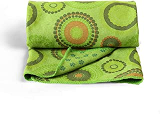 CXQ Yoga Blanket Widening Pad Non-Slip Yoga Towel Green Totem Print Yoga Sweat Towel