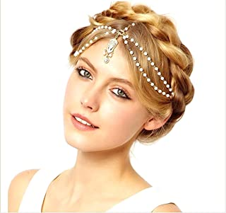 Cathercing Bohemian Beaded Tear Drop Rhinestone Pendant Head Chain for Women and Girls for Wedding Party Vintage Bridal Headband Headpiece Hair Accessories Jewelry for Prom Halloween