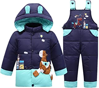 2 Piezas Bebé Traje de Nieve Chaqueta de Plumas con Capucha con Pantalones de Peto de Nieve Invierno Traje de Esquiar Unis...