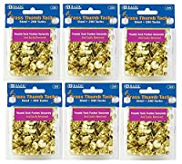 6 Pk, BAZIC Brass Thumb Tack 200 Per Pack(1200 in Total) by Bazic