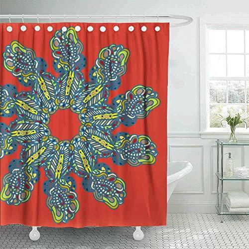 Rideau de douche, rideau de douche bleu marine rideau de douche drôle pour salle de bain avec crochets Nouveau objet de Doodle d'art inspiré de style symétrique peut être grand rideau de douche imperm