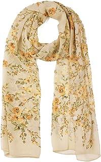 uxcell Long Chiffon Floral Scarves Lightweight Beach Sunscreen Shawls for Women