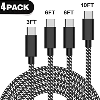 USB C Cable [4Pack/3ft, 6ft, 6ft, 9ft] USB Type C Nylon Braided Fast Charging Cable Cord for Samsung Galaxy S9/S8+, Note 8, Nintendo Switch, Sony Xperia XZ, Google Pixel,OnePlus 5T