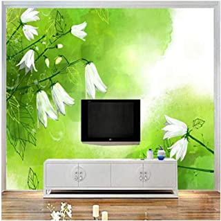 Yxjj1 3D White Lily of The Valley Wallpaper for Walls Green Fresh Wall Covering Living Room Home Decor TV Wall 300cm(W) x 200cm(H) (9'10