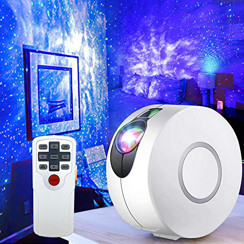 Night Light Projector, Galaxy Projector with LED Nebula Cloud, Star Projector with Remote Control for Kids Adults Bedroom Party Bar Home Decoration Night Light Ambience -- White