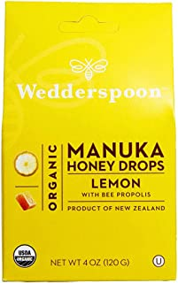 Wedderspoon Organic Manuka Honey Drops, Lemon + Bee Propolis, Unpasteurized, Genuine New Zealand Honey, Perfect Remedy For Dry Throats, 4.0 Ounce