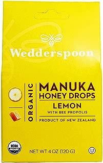 Wedderspoon Organic Manuka Honey Drops, Lemon + Bee Propolis, 4.0 Oz, Unpasteurized, Genuine New Zealand Honey, Perfect Remedy For Dry Throats