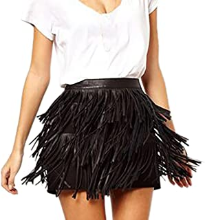 Women Hippie Boho Fringe Tassel Black Faux Leather PU Fashion Clubwear Mini Skirt