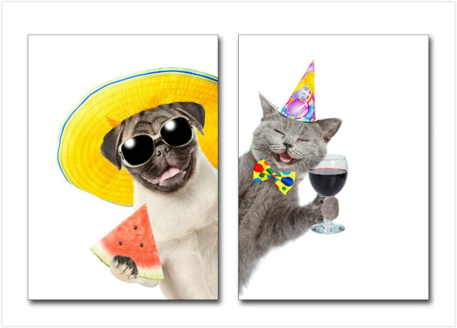 2 Panels Canvas Art Painting Cute Poster Popular shop is the lowest price challenge Dogs Cats Print And Finally popular brand Mod