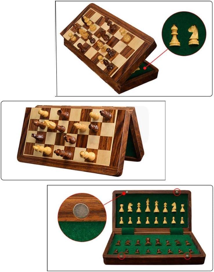 Schaakspel Houten magnetische schaak set, opvouwbare schaakbord game set met vervaardigd schaakstuk & opslag slots for kinderen volwassen Chess Set (Color : 25CM) 30CM