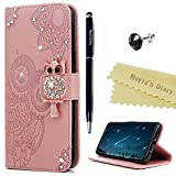 Mavis's Diary S9 Hülle Case Handyhülle Samsung Galaxy S9 Glitzer Strass Eule Muster Leder Tasche...