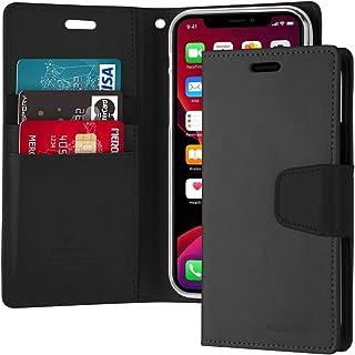 غطاء حافظة حماية ومحفظة لجهاز آيفون 11 من الجلد مع جيوب داخلية وقاعدة تثبيت، أسود