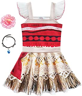 Little Girls Princess Dress Lace Ruffle Sleeve for Moana Costume Outfit with Necklace Flower For Halloween Christmas Dress Up