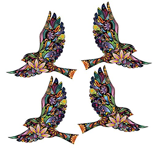 Flying Floral Bird Walls Decals, Set of 4 Colorful & Decorative Bird Stickers