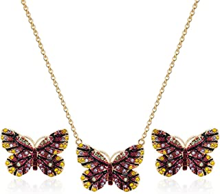 CHOA Butterfly Earrings and Necklace Set - Butterfly Necklace & Stud Earrings for Girls and Womens