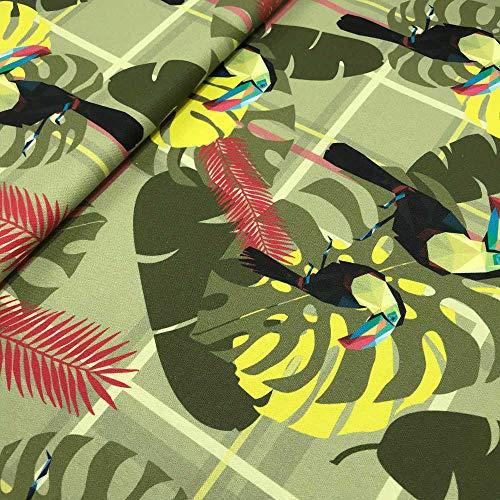 Tela de loneta estampada digital - Half Panamá 100% algodón orgánico Oeko-Tex Standard 100 - Retal de 100 cm largo x 280 cm ancho | Tucán de origami y cuadro escocés - Verde, amarillo ─ 1 metro