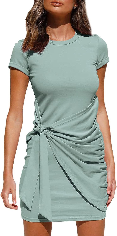 Koscacy Women's Summer Short Sleeve T Shirt Striped Dress Casual Tie Waist Bodycon Mini Dresses