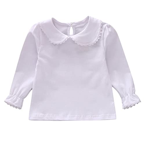 Tees Enthusiastic Kids Girls T Shirt 100% Cotton Solid Pink White Color Peter Pan Collar Girls Tops Cute Baby Girls Clothes