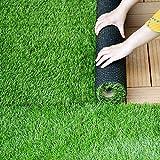 Feloper 人工芝 ロール 2m×10m 芝丈35mm ピン 4色立体感 透水穴つき リアル ふかふか 高品質 高密度 色落ちにくい 抜けにくい U字ピンつき 復元性 立体感 芝庭 人工芝生 ガーデニング アウトドア (2×10m 芝丈35mm, 青緑)