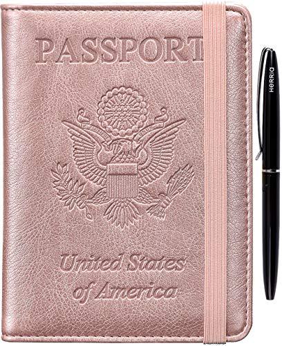 HERRIAT Passport Holder Cover Case RFID Blocking Travel Wallet Card Case for Women Man(Rose Gold)