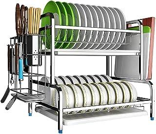 HXCD Égouttoir à Vaisselle avec égouttoir Support à ustensiles en Acier Inoxydable Support à 2 Niveaux Support de Rangemen...