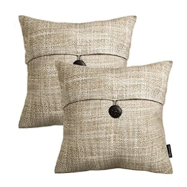 PHANTOSCOPE Set of 2 Button Beige Linen Decorative Throw Pillow Case Cushion Cover 18 X18  -New!!