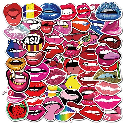 50PCS Hot Sexy Lips Cartoon Sticker For Cute Decal Stickers To Laptop Phone Suitcase Guitar Fridge Car Decal Stickers F5