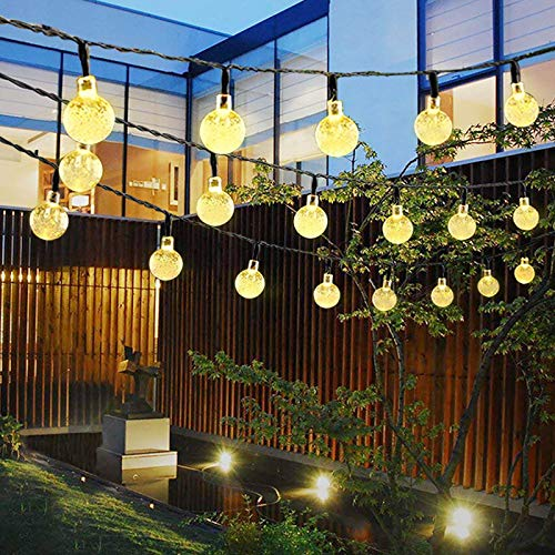 Solar String Lights, 23Ft 50LED Waterproof Crystal Ball LED Outdoor Fairy Lights Solar Powered, Solar Garden Lights for Garden, Patio, Yard, Christmas, Parties (Warm White)