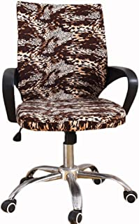 2 Color Computer Office Rotating Chair Covers Spandex Fabric Washable Elastic Stretch Chair Cover Slipcover Protector (Leopard, L)