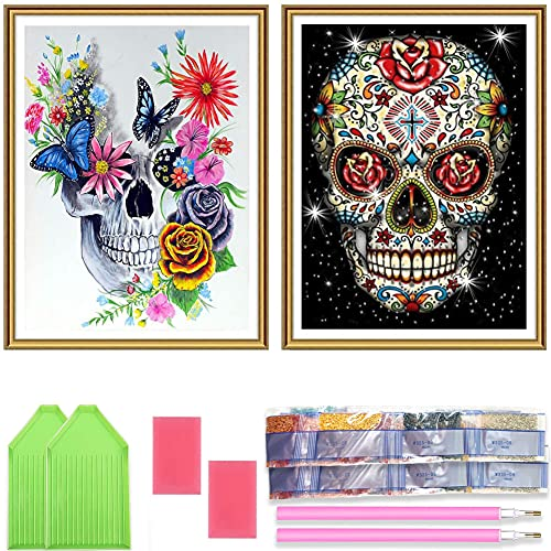 Ginfonr 5D DIY Diamond Painting Full Drill Skull Skeleton by Number Kits, Embroidery Rhinestone Paint with Diamonds Art Crystal Cross Stitch Wall Decor (12 x 16 inch, 2 Pack)