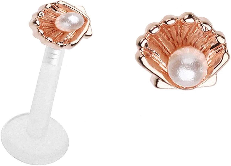 playful piercings Ariel's Pearl Seashell Ocean sea Shell Gold or Rose Gold Flex Flexible Bioplastic Labret Monroe Lip Tragus Ear Ring 16g or 14g