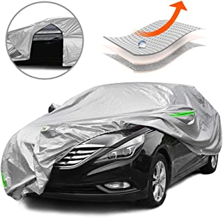 Tecoom MPD04 Multi-Protection Door Shape Zipper Design Waterproof UV-Proof Windproof Car Cover with Storage and Lock for All Weather Indoor Outdoor Fit 201-218 inches Sedan
