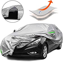 Tecoom Multi-Protection Door Shape Zipper Design Waterproof UV-Proof Windproof Car Cover with Storage and Lock for All Weather Indoor Outdoor Fit 170-190 inches Sedan