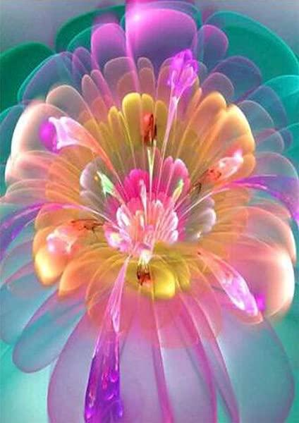 Yeefant 粉色透明渐变花朵刺绣挂画不褪色 5D 帆布水钻粘贴 DIY 钻石十字绣卧室客厅 12x16 英寸家居墙壁装饰