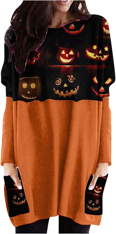 Womens Maxi Tunic Dress Pumpkin Face Print Sweatshirt Graphic Patchwork Fashion Shirt Halloween Top with Side Pockets