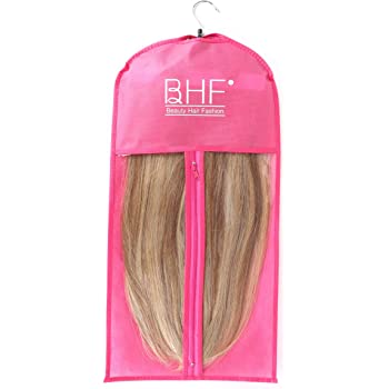 Hair Extensions Storage Bag with Wooden Hanger Carrier Case Protection for Daily Use & Travel (Rose Red Color)