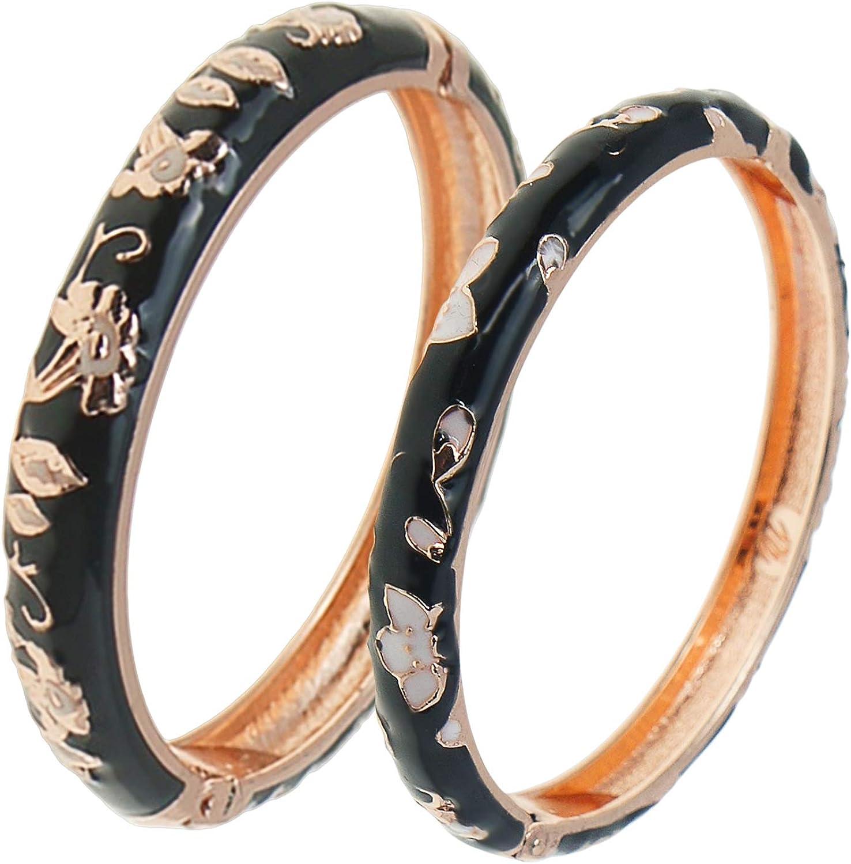 UJOY Cloisonne Bracelet Butterfly Gold Hinge Indian Cuff Bangle Enameled Jewelry Bracelets for Women Gift Box 55A108