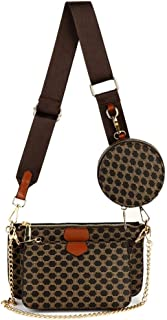 Risup Small Checkered Crossbody Bag Luxury Designer Shoulder Chain Purse with Strap Including 3 Size Bag, Coffee Color, On...
