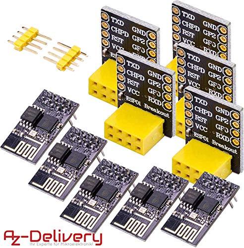 AZDelivery 5 x esp8266 01 esp-01 Wlan WiFi Modul mit Breadboardadapter für Arduino mit gratis eBook!