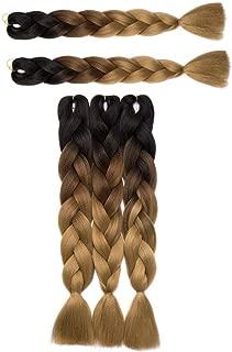 Extension di capelli sintetici, a treccia, con doppio effetto ombre, da nero scuro a marrone chiaro a biondo cenere, confezione da 5, 500 g di peso, 60 cm di lunghezza