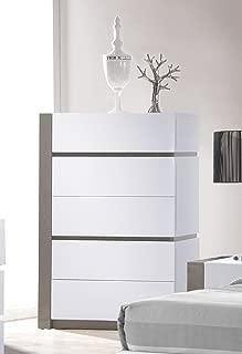 MILAN Valencia Gloss White/Grey 5 Drawer Chest