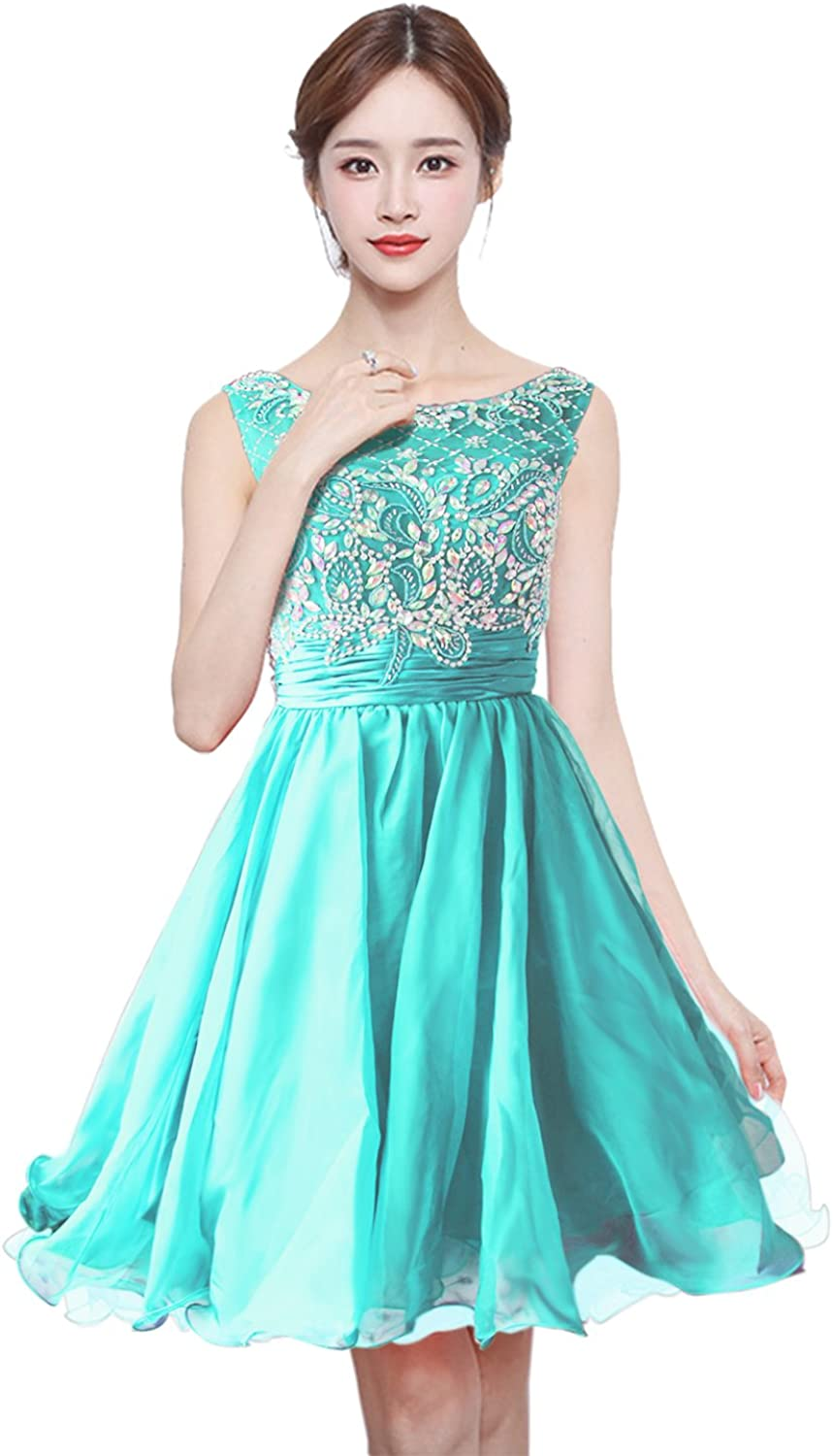 Anlin Short Prom Dresses Open Back Sequins Homecoming Dresses