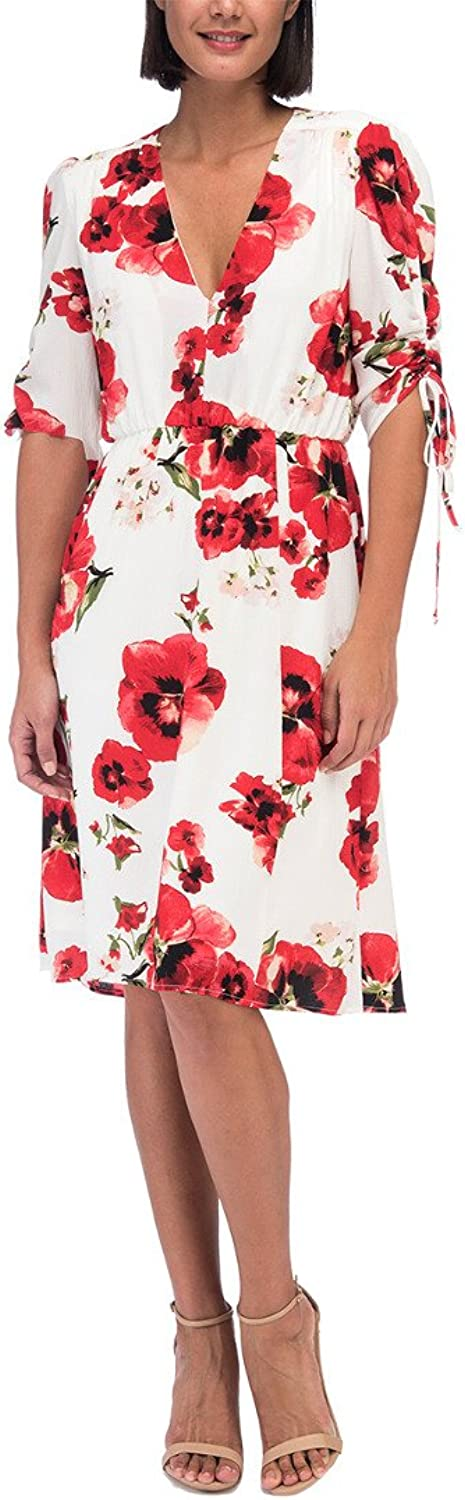 Bobeau Ember Ruch Sleeve Red Floral Print Dress