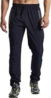BGOWATU Men's Workout Joggers Sweatpants Quick Dry Lightweight Sports Athletic Track Pants with Zipper Pockets