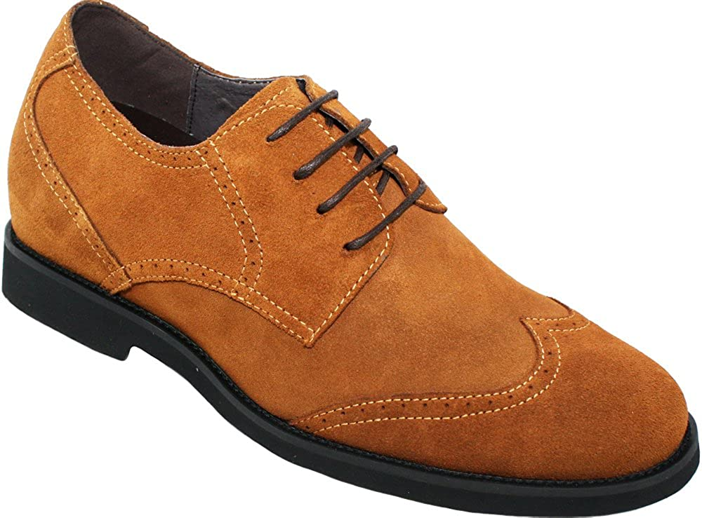 Calden Men's Invisible Height Increasing Elevator Shoes - Brown Suede Leather Lace-up Lightweight Wing-tip Formal Oxfords - 2.6 Inches Taller - K221212