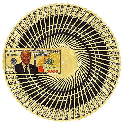 PartyYeah Donald Trump 1000 Dollar Bill Banknote, One Thousand 24k Gold Coated Donald Trump Legacy Limited Edition Million Dollar Bill Great Gift for Coin Currency Collectors and Republican (100 Pack)