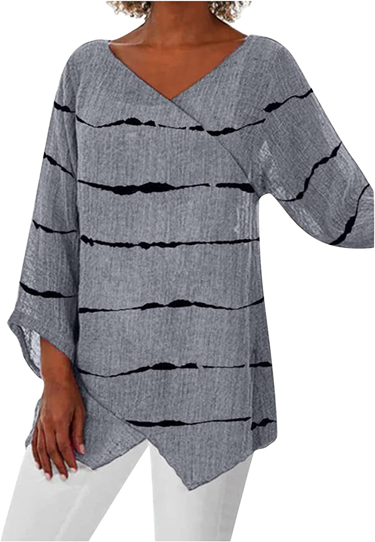 Forwelly Women's Plus Size Shirts Fashion Stripe Long Sleeve V Neck Tunic Top Comfy Cotton Linen Shirt Blouse
