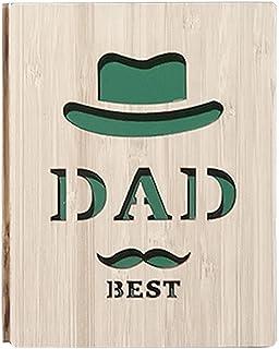 TriLance fars dag bambukort, handgjorda bambukort med mustasch, slips och glasögon, pappa någonsin kort, äkta bambu trä gr...