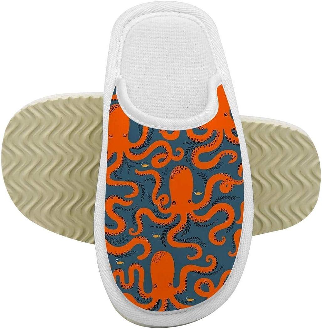 House Slippers Orange Octopus Memory Foam Indoor Home Slippers Anti-Slip Shoes for Boys Girls
