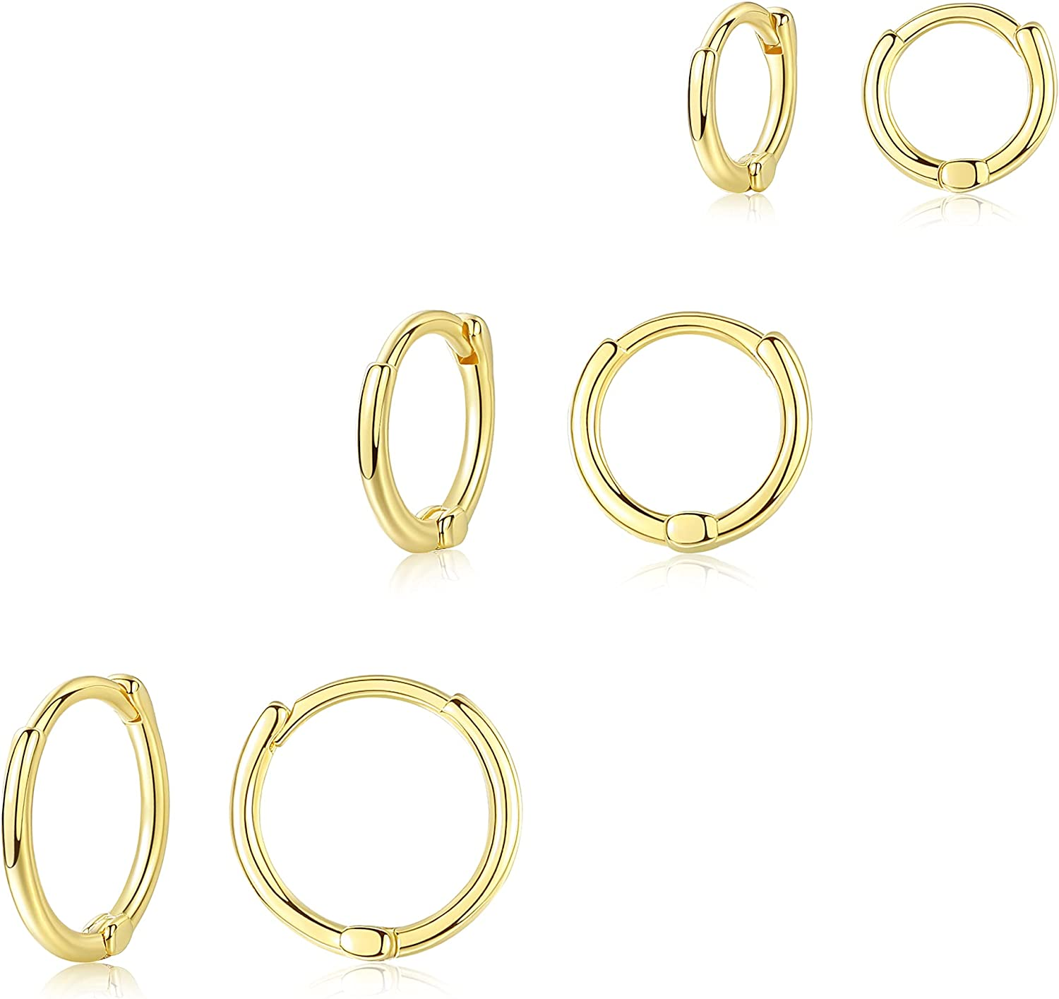 Howoo Cheap super special price Hoop Earrings Gold Nose 3 Set Brand new Cartilage Earring Ring